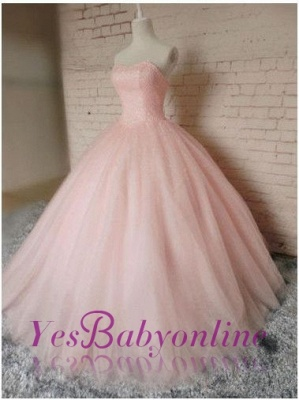 Gown Sleeveless Prom Chic Pink Dresses Ball Sweetheart  Princess Dresses_1