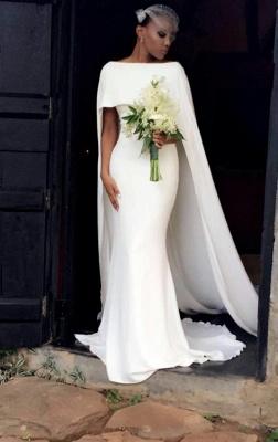 Glamorous Bateau Neck Plain Mermaid Wedding Dresses_3