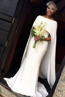 Glamorous Bateau Neck Plain Mermaid Wedding Dresses_2