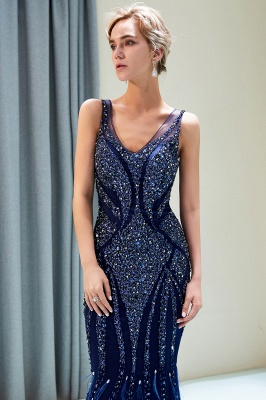 Mermaid  Sleeveless V-neck Sequins Pattern Long Prom Dress | 2019 Evening Dress_4