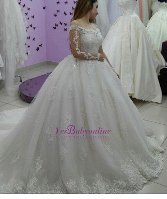 Lace-Applique Ball-Gown Long Sleevess Tulle Off-The-Shoulder Pearls Wedding Dresses_1