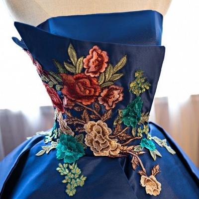 Strapless Embroidery Dark-Blue Peplum Puffy Elegant Prom Dresses_3