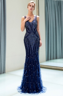 Mermaid  Sleeveless V-neck Sequins Pattern Long Prom Dress | 2019 Evening Dress_2