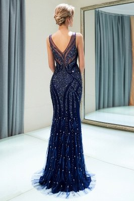 Mermaid  Sleeveless V-neck Sequins Pattern Long Prom Dress | 2019 Evening Dress_3