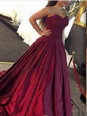Lace-Applique Burgundy Ball-Gown Elegant Sweetheart Prom Dresses_2