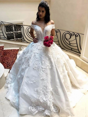 Off the Shoulder Gorgeous Lace Wedding Dresses in Ball Gown Style_3