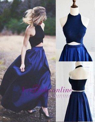 Blue Navy Elegant Two-Piece Puffy Prom Dresses_1