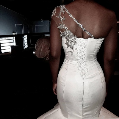 One Shoulder Applique Fit And Flare Ruffles Mermaid Wedding Dresses_3
