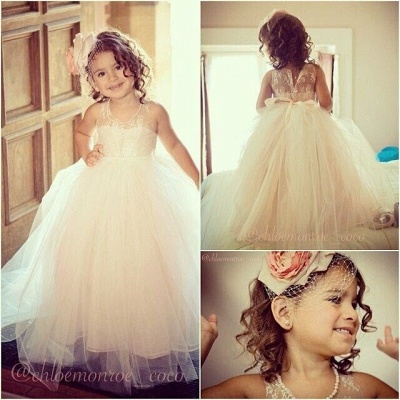 Lovely Lace Tulle Pearls Beaded Long Flower Girl Dresses with Bow_3