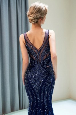 Mermaid  Sleeveless V-neck Sequins Pattern Long Prom Dress | 2019 Evening Dress_5