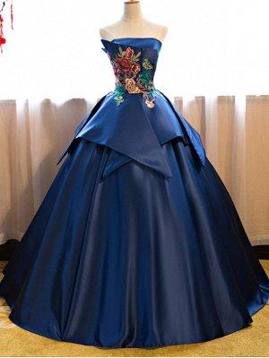 Strapless Embroidery Dark-Blue Peplum Puffy Elegant Prom Dresses_4