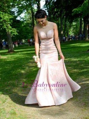 Zipper Pink Sleeveless Mermaid Long Sexy Prom Dresses_1