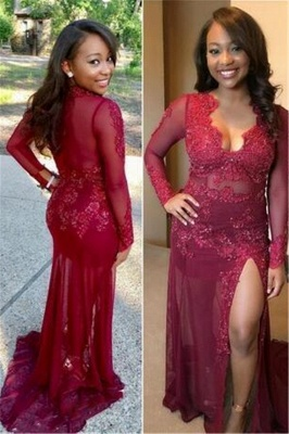 Long Sleevs Burgundy Prom Dresses | Side Slit Mermaid Long Evening Gowns_1