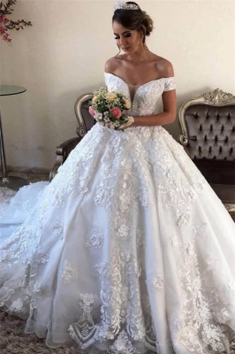 Off the Shoulder Gorgeous Lace Wedding Dresses in Ball Gown Style_1