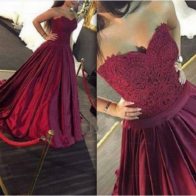 Lace-Applique Burgundy Ball-Gown Elegant Sweetheart Prom Dresses_3