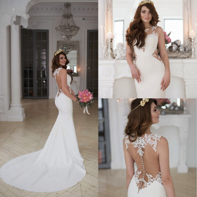 Cutaway-Sides Sheer Mermaid Lace Sexy Wedding Dresses_5