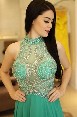 Bodice Illusion  Beading Halter A-Line Sexy Prom dresses_4