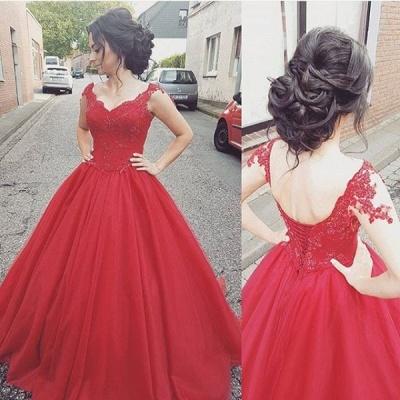 Lace Modern Lace-up  Sleeveless Straps Prom Dress_2