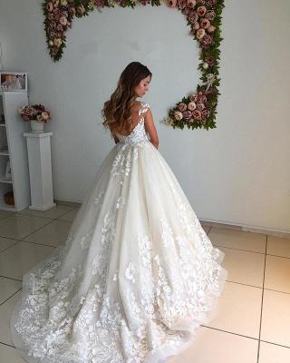 Floor-Length Backless Appliques A-Line Court Train Lace Wedding Dress_3