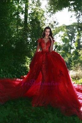 Red Glamorous Lace V-Neck Over-Skirt Applique Prom Dresses_1