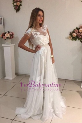 Short-Sleeves Sweep-Train Tulle A-Line Newest Appliques Prom Dress_1