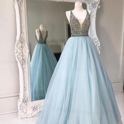 Zipper Sleeveless A-line Tulle Crystals V-neck Stunning Prom Dress_3