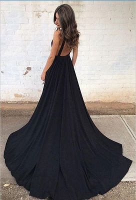 Black V-neck Sleeveless Straps Sexy Backless A-line Prom Dress_3
