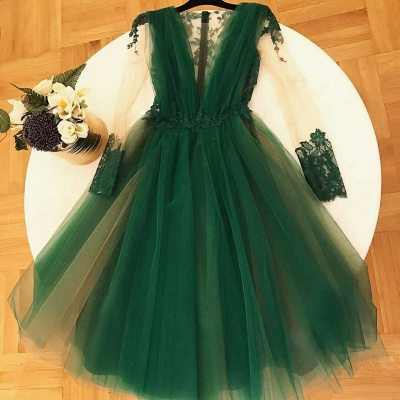 Chic A-Line Green  Homecoming Dresses | V-Neck Long Sleeves Lace Applique Cocktail Dresses_1