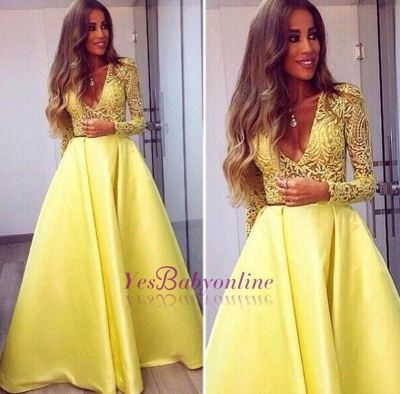Gorgeous Satin Long Lace Yellow Sleeves V-neck Prom Dresses_1