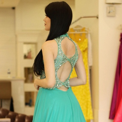 Bodice Illusion  Beading Halter A-Line Sexy Prom dresses_3