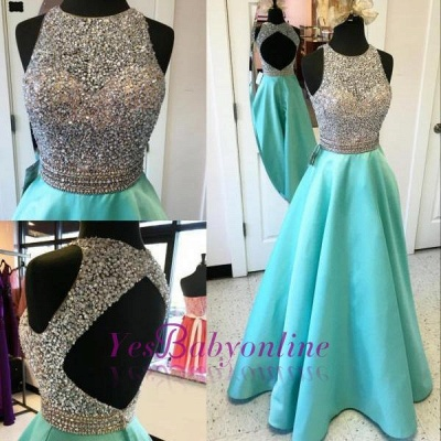 Elegant A-line Prom Dresses Beading Open Back Long Evening Gowns_1