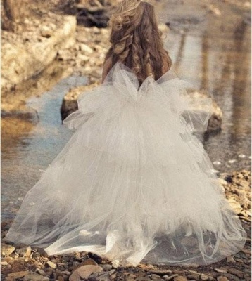 Spaghettis Straps Tulle Feathers Sweet Flower Girl Dresses | Long Girl's Formal Dresses_3