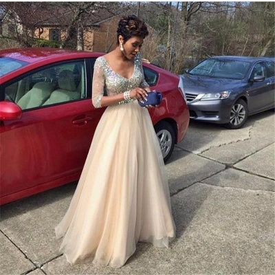 Crystal Glamorous Floor-Length V-Neck  Half-Sleeves Prom Dress_3