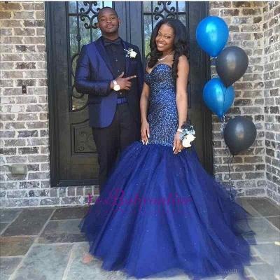 Sequins Navy Sleeveless Beading Strapless Blue Popular Shiny Tulle Prom Dress_1