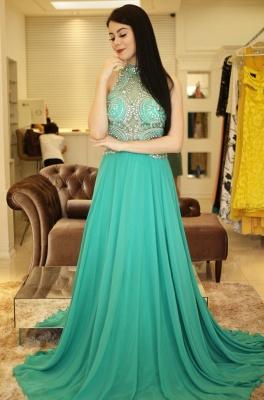 Bodice Illusion  Beading Halter A-Line Sexy Prom dresses_5