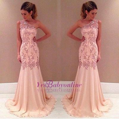 Mermaid Applique Long Sexy Pink One-Shoulder Chiffon Evening Dresses_1
