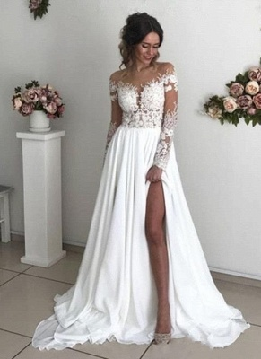 Exquisite A-Line Chiffon Lace See Through Neck Long Sleeves Wedding Dresses_1