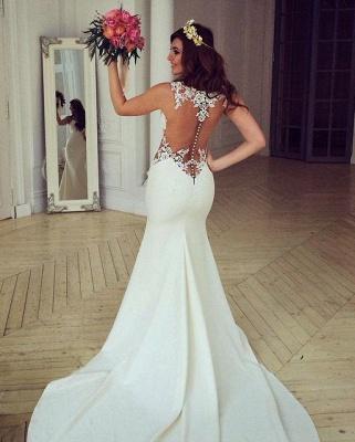 Cutaway-Sides Sheer Mermaid Lace Sexy Wedding Dresses_2