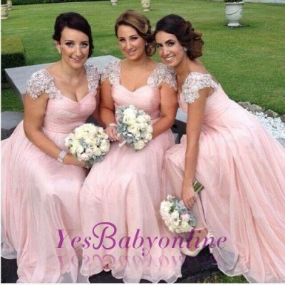 Long Pink Elegant Capped-Sleeves Chiffon Bridesmaid Dresses_1