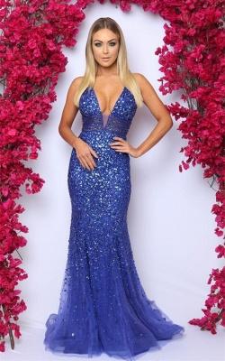 2019 Sexy V-Neck Sleeveless Prom Dresses | Royal Blue Crystal Evening Dress_1