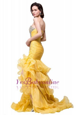 Elegant Sweetheart Mermaid Evening Gowns Side-Slit Crystal Ruffles Prom Dresses_1