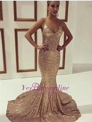Gold Sequins Mermaid Prom Dresses Spaghetti Straps Simple Evening Gowns_1
