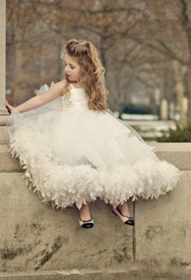 Spaghettis Straps Tulle Feathers Sweet Flower Girl Dresses | Long Girl's Formal Dresses_2