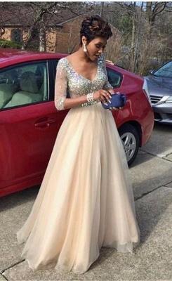 Crystal Glamorous Floor-Length V-Neck  Half-Sleeves Prom Dress_2
