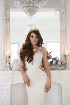 Cutaway-Sides Sheer Mermaid Lace Sexy Wedding Dresses_3