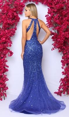 2019 Sexy V-Neck Sleeveless Prom Dresses | Royal Blue Crystal Evening Dress_3