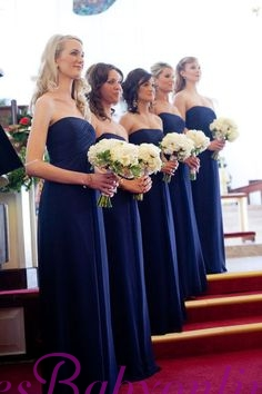 Chiffon Royal Long Chic Blue Evening Bridesmaid Dresses_1