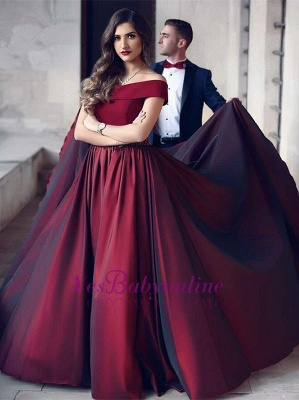 Wine A-Line Off-the-shoulder Floor-Length Beautiful Evening Dress_3