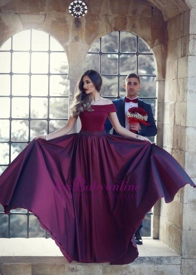 Wine A-Line Off-the-shoulder Floor-Length Beautiful Evening Dress_1