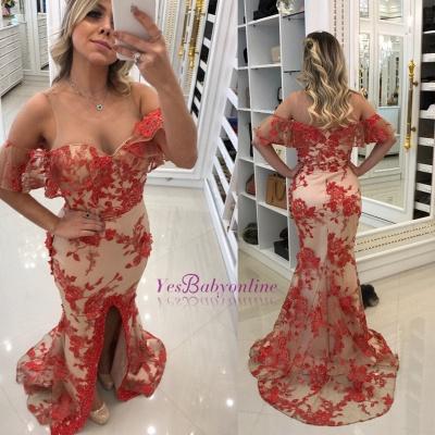 Appliques Scoop Front-Split Mermaid Red Evening Dresses_1
